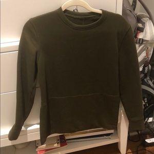 Army green Lululemon zip sweatshirt